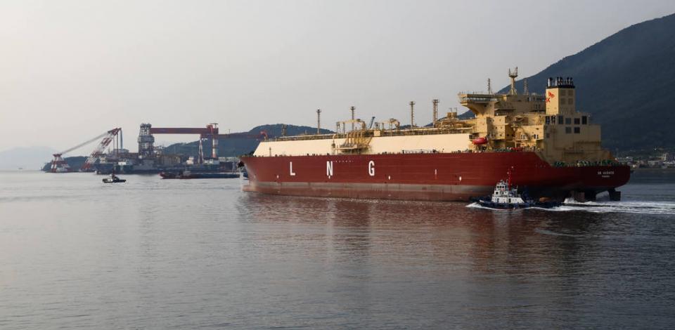 Le méthanier de 180 000 m3 SK Audace navigant. Corée du Sud.